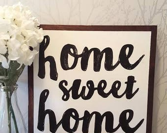 home sweet home wood sign 16x16""