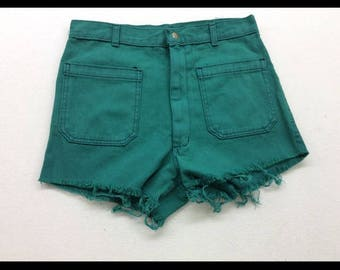 Upcycled NavDungaree Teal Wash Denim Cut Off High Waisted Jean Shorts 30 inch Waist