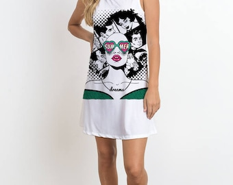 Sleeveless Dress w Pop Art Girl Print