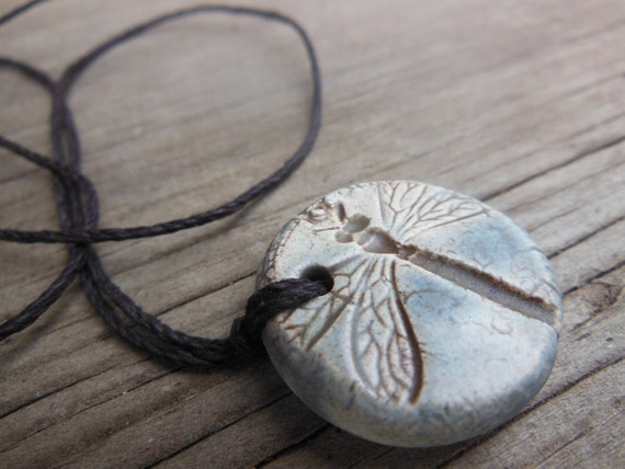 Stone Grey Dragonfly Essential Oil Diffuser Necklace Gray