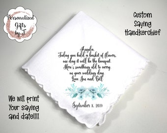 Mother Grandmother Stepmother of the Bride Gift, Custom Handkerchief, Wedding Hanky, Your custom Text Hanky, Mother of the Groom Hanky bq8