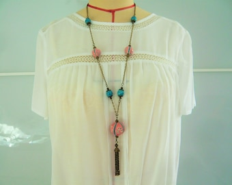 Pretty necklace in shades of turquoise and pink with ceramic beads handmade