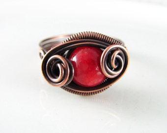 Wire Wrapped Ring Red Jade Ring Copper Ring Size 10 Dragons Eye Ring Wire Wrapped Jewelry Copper Jewelry Copper Wire Wrapped