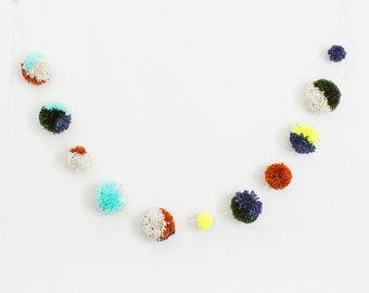Multicolor Neutral Pom Pom Garland