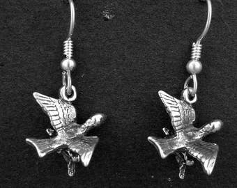 Sterling Silver Nesting Song Bird Earrings on Heavy Sterling Silver French Wires
