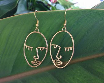 Face Earrings Gold Picasso Face Earrings Statement Earrings Minimal Hollow Face Earring, Abstract Style + FREE GIFT BOX