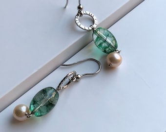 Crysocolla stone and pearl earrings