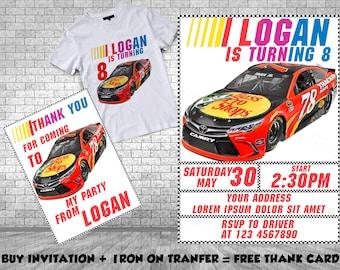 Race Car Birthday Invitation, Nascar Iron On Transfer, Birthday Invitation, Racing Invitation, Southern Style Invitation, Nascar Invitation
