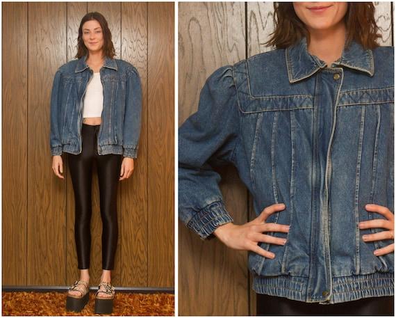 Up Coat Soft Grunge Broken 90s L Zip In Flannel Patchwork 80s Denim Distressed Jacket Pads Blue M Vintage Xl Shoulder Lined Jean zvq0T