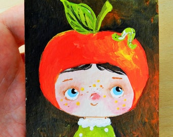 SALE aceo original acrylic painting Apple Baby, mini art, artist trading card, tiny painting