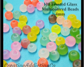 Frosted Glass Beads, 4mm Beads, Glass Beads, Bead Lot, Transparent Beads, Round Beads, Colorful Beads, Small Glass Beads, Frosted Beads, #1D