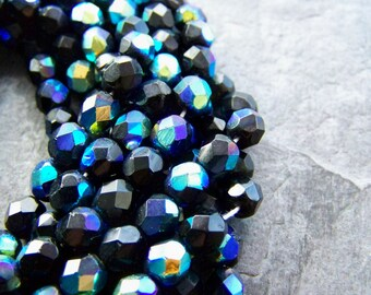 Czech Glass Bead-Czech Glass-Czech Bead-Glass Bead-Jet AB-Faceted Glass Bead-6mm-29 Beads