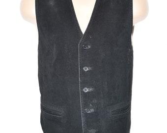 Vintage Black Leather Textile ASHARE Button Western Biker West Waistcoat Size L