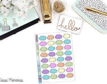 DOODLE CLOUD BOXES Paper Planner Stickers - Mini Binder Sized/3 Hole Punched