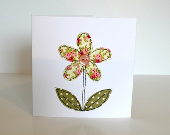 Embroidered flower card, fabric flower card, textile flower card, stitched flower card, sewn flower card, applique flower card, card for her