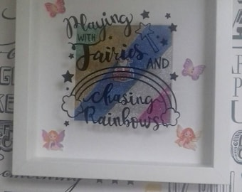 Fairy And Rainbow Vinyl Box Frame, Children's Bedroom Decor, Little Girls Gift, Nursery Decor, Fairy Garden, Magical Gifts, Make Believe