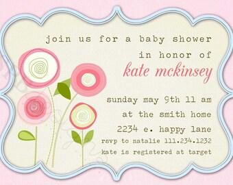 Baby Shower Invitation -- Pocket Full of Posies
