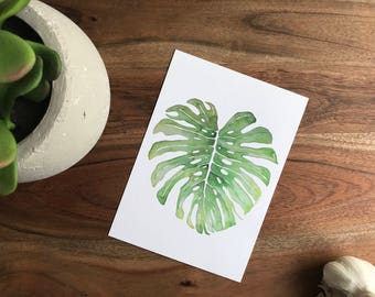 Tropical Leaf Watercolor Painting Print, Monstera Leaf, Philodendron Leaf