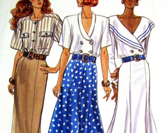 Womens Fitted Straight or Flared Skirt Pattern, Size 6-8-10, Butterick 4134, Mid or Lower Calf Lengths, Vintage 1980s Sewing Pattern, UNCUT