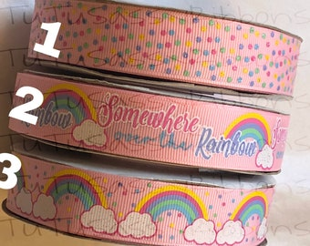 "7/8"" USDR somewhere over the rainbow grosgrain printed ribbon"