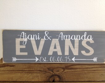 Personalized family sign - distressed - couple wedding gift - family last name, first names, established date with arrows  LR-080