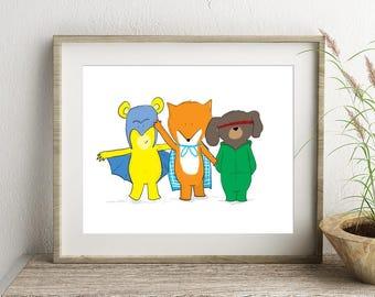 Nursery Print, Animal Superhero, Kid's bedroom Art, Animal prints for nursery, Playroom Decor, Personalised Art, Cute Prints, Newborn Gift