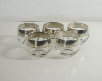 Five 1960's MCM Mercury Glass/Silver-Rimmed Roly Poly Glasses