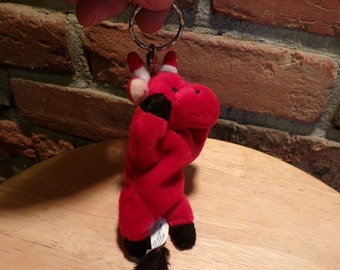Red Bull key chain, stuffed animal keychain, red stuffed bull keychain, red keychain, animal keychain