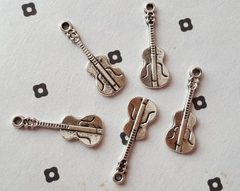 Antiqued Silver Guitar Charms (5)