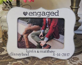personalized picture frame gift for gay couple Engagement gift Gay wedding Same sex marriage gay pride Engaged frame
