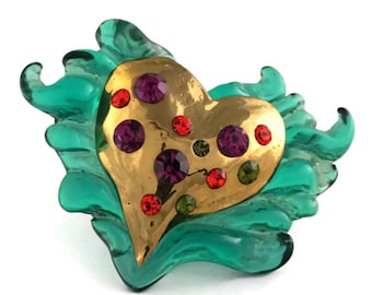 Vintage CHRISTIAN LACROIX Heart Fire Studded Rhinestones Green Lucite Resin Brooch