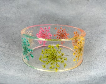 Rainbow Queen Anne's Lace Resin Bangle, Chunky Bangle, Statement Bangle, Flower Jewelry, Resin Jewelry, Christmas