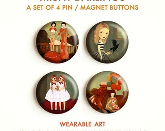 Misfit Darlings - Pinback Button Set, Magnets, Pinbacks, Pins, Set of 4 Magnets or Pins, Fridge Magnet, Button Pack, Badge, Circus, Carnival