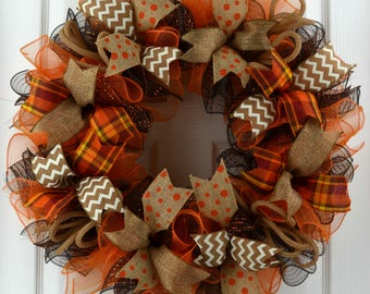 Fall door wreath - Fall mesh wreath - Fall wreath - Wreath for Fall - Front Door Wreath - Mesh fall Wreath - Orange Fall Wreath