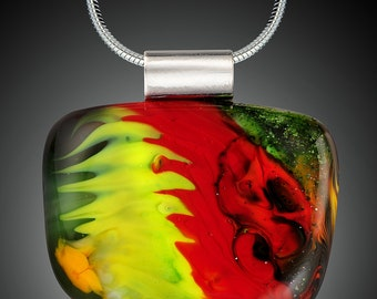 Abstract Fused Glass Pendant with 18 inch chain