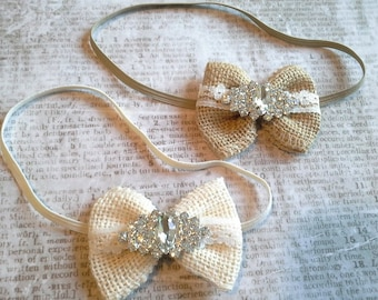 burlap headbands, rhinestone headbands, baby headbands, vintage headbands, lace headbands, country headbands, bow headbands, wedding