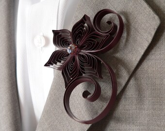 Maroon Boutonniere, Burgundy Buttonhole, Maroon Wedding, Burgundy Wedding, Rosewood Wedding