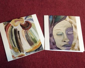 Set of two cards, blank inside, paintings, poems