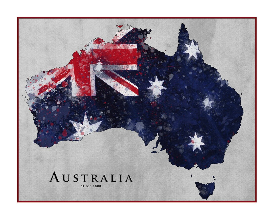 AUSTRALIA Map Watercolor Map Map of Australia Queensland