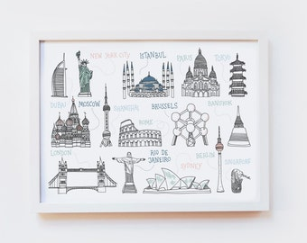 Giclee Art Print - travel illustration, around the world, wanderlust, monuments, cities - wall art, poster, decor - size A4 or A3