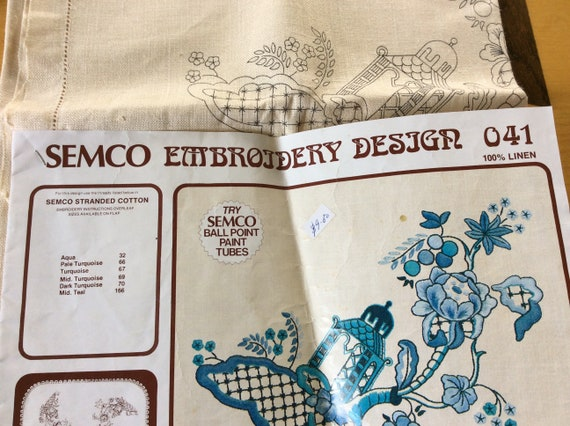 vintage 34 square pure linen tea table cloth for embroidery