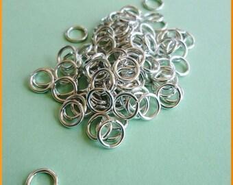 100 Aluminum Open Jump Rings 16 Gauge 8mm Lightweight Silver Tone