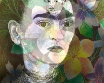 Frida Kahlo Diego Floral Collage Reproduction Fabric Quilt Block Free Shipping World Wide (K8