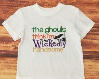 Boys Halloween Shirt, Pumpkin Halloween Shirt, Toddler Boys Halloween Tee, Trick or Treat Shirt, The Ghouls Think I'm Handsome, Embroidered