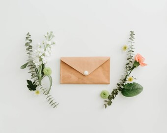 Leather Wallet - Envelope Style - The Penelope - Natural (Veg-tanned)
