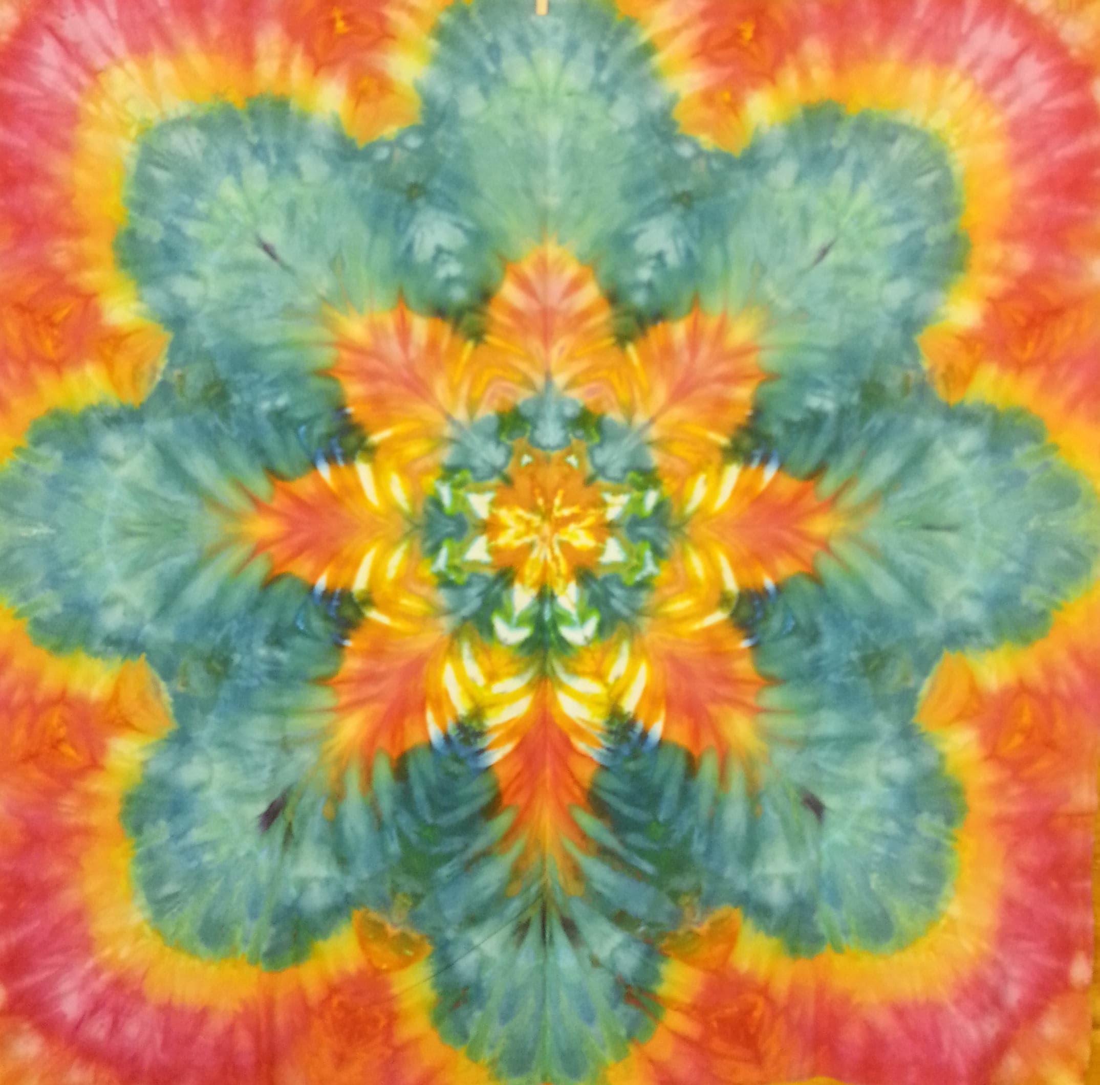 tie dye tapestry orange yellow turquoise trippy mandala