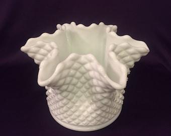 Vintage Westmoreland English hobnail milk glass crimped bowl