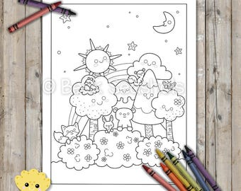 Cute Woodland Printable Coloring Page