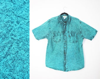 90s Acid Wash Shirt // Teal, Green, Button-Up, 1990s Menswear, Men Size Large