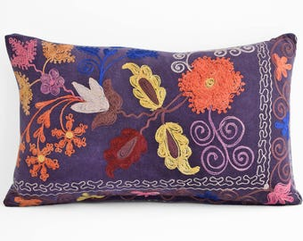 Suzani Embroidered Pillow Cover 12x20, Suzani throw pillow covers,Uzbek suzani pillows, Pillow Cover, Suzani Throw Pillows, Suzani pillow